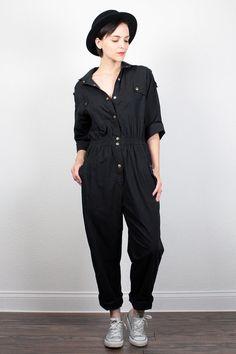 Vintage 80s Jumpsuit Slouchy Black Jumpsuit 1980s Jumpsuit Work Uniform Overalls…