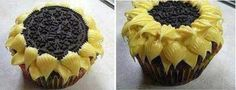 Sunflower Cupcakes - I would love to add a lil bee on them!