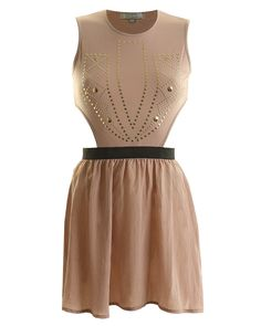 LOVE MINK CUT OUT STUDDED FRONT SKATER DRESS- InLoveWithFashion