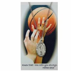 Girls Basketball Medal Prayer Card Catholic Sports Pendant Charm Christian . $12.99. 18 inch leather cord can be substituted. lead free pewter. 18 chain