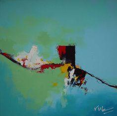 Dit abstracte schilderij is opmaakt uit een rustige, pastel kleurige blauw/groen in de achtergrond. Daarop komt het figuur met harde kleuren paars, rood en geel naar boven. Het figuur kan voor een ieder iets anders uitbeelden, zie wat je wilt zien.