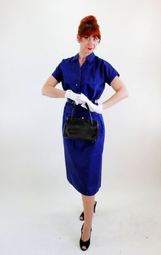Sale  1950s Navy Blue Dress Set Suit Mad Men by gogovintage, $72.00