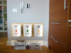 One Brooklyn Modern: The Zero Waste Home: Recycling: also need a spot for batteries, lightbulbs, donate Homesteaders Life, Diy Rangement, Plastic Glass, Green Life, Bottle Design, Sustainable Living, Zero Waste, Clean House, Brooklyn