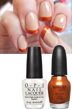 """Base coat: Apply two coats of an opaque flesh-toned nude like OPI Don't Touch My Tutu ($8), and allow to dry fully. For the tips: Trace along the tips of each of your nails with an iridescent orange like Sephora by OPI I Think I Cayenne ($10). Hall's pointers for doing this freehand? First off, keep all your hands on solid ground as you work. """"You'll be so much more steady,"""" she says. And secondly, don't worry about smears and smudges on your skin. """"A pointed Q-tip dipped in remover can fix…"""