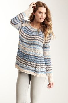 Scoop Neck Multicolored Knit Sweater