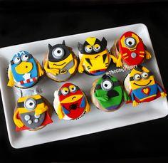 despicable me minions superhero theme cupcakes Themed Cupcakes, Cute Cupcakes, Cupcake Cookies, Cupcake Toppers, Nerd Cupcakes, Valentine Cupcakes, Pink Cupcakes, Cupcake Ideas, Minion Superhero