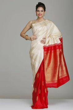 Beige And Maroon Hhand-Woven Pure Silk Patli-Pallu Kanjivaram Saree With Real Zari