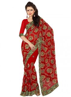 Majesty Red Embroidered Color Faux Georgette Based #Embroidered_Saree
