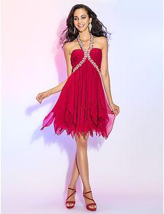 uma linha cabeçada de mini chiffon cocktail vestido de baile curto / / com beading – BRL R$ 239,37