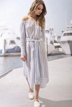 Moon River Vertical Stripe OTS Midi Dress ($90)- The Style Theory