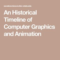 An Historical Timeline of Computer Graphics and Animation