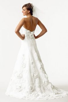 A-line Strapless Applique Sweep Train Wedding Dress On Sale - US$ 247.79