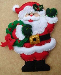 New Post santa craft ideas Felt Christmas Decorations, Christmas Ornaments To Make, Easy Christmas Crafts, Christmas Sewing, Felt Ornaments, Christmas Art, Christmas Projects, Christmas Themes, Christmas Stockings