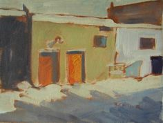 Fine Art, Mini oil painting ACEO PRINT custom study. Winter Scene. Red Doors. Collectors item 2.5x3.5 inches.