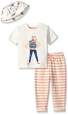Rosie Pope Little Girls 3 Piece Captain Shirt Cotton Bucked Hat and French Terry Pant Set Peach Pink 12 Months