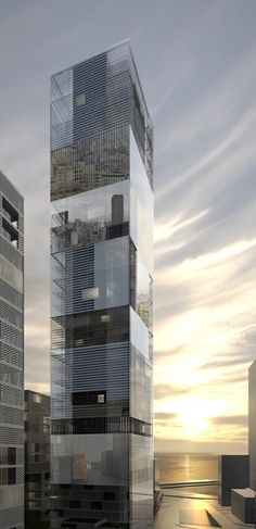 "//Paris practice LAN Architecture have designed a 142m high ""mirror tower"" for Beirut, Lebanon."