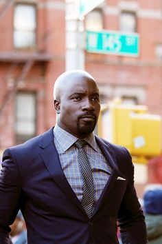 Mike Colter on the set of 'Luke Cage' in NYC