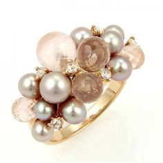 Pre-owned Mimi 18k Rose Gold Diamond Rose Quartz and Pearls Cluster... ($775) ❤ liked on Polyvore featuring jewelry, rings, accessories, bagues, rose quartz ring, rose gold ring, pearl cluster ring, rose gold diamond ring and diamond cluster ring
