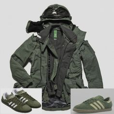 Superlative (if pricey) 3-in-1 Snow Parka from MA.STRUM, teamed up with a not too often seen pair of Khaki Tobaccos (right) or ubiquitous Olive Green Spezials - class, but don't rip the parka!! :-)