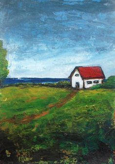 """Barn on the Lake- Original landscape painting -original acrylic painting -5""""x7""""  -matted 8""""x10"""" - FREE SHIPPING"""
