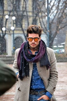 Mariano Di Vaio. Men's Style. Blue shirt, camel coat and bright scarf.