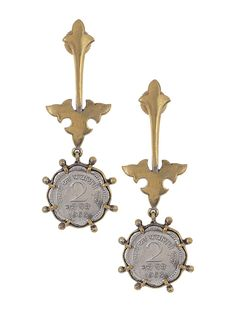 Buy Golden Silver Classic Coin Dual Tone Brass Earrings Fashion Jewelry The Traditional Modernist Cotton matka silk khadi apparel with double ikat and embroidery Online at Jaypore.com