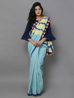 Description: MEASUREMENTS : Length - mtr, Width - 46 in It& a clamp dyed saree with checks print. It does NOT include blouse piece. Trendy Sarees, Stylish Sarees, Simple Sarees, Fancy Sarees, Saree Jacket Designs, Saree Blouse Neck Designs, Indian Attire, Indian Outfits, Saree Trends