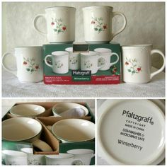 Pfaltzgraff Winterberry Mug Set of 4. Christmas Pattern Winterberry. New in original box. | eBay!