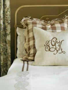 Monogram Pillow on Farmhouse bed
