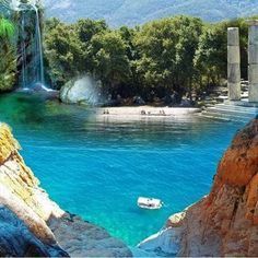 Samothrace, Greece Waterfall, gorgeous beach, clear water, luscious trees and ancient ruins. This may be my little slice of heaven. Places To Travel, Places To See, Wonderful Places, Beautiful Places, Places In Greece, Greece Islands, Future Travel, Greece Travel, Vacation Spots
