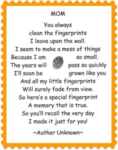 Homemade Mother's Day Ideas: 15 Poems and Quotes Gifts Kids Crafts, Preschool Crafts, Preschool Poems, Daycare Crafts, Toddler Crafts, Mother And Father, Mother Day Gifts, Mothers Day Cards, Fathers Day Crafts