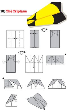 Diagramme dorigami davion planeur en papier : modèle triplan