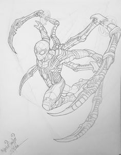 Marvel Drawing Iron Spider and Venom Spider Drawing, Spider Art, Iron Spider, Cool Drawings, Drawing Sketches, Comic Books Art, Comic Art, Avengers Drawings, Drawing Superheroes