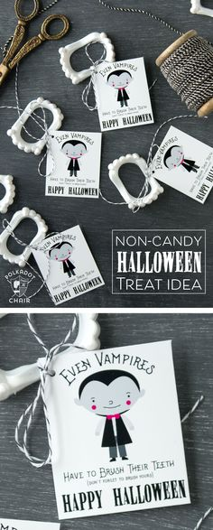 Cute non-candy Halloween Treat idea - free printable tags to attach to vampire teeth! Looking for a cute non candy Halloween Treat idea? Free printable tags to attach to plastic vampire teeth- best non-candy Halloween treats. Halloween Treats For Kids, Halloween Favors, Halloween Tags, Halloween Activities, Holidays Halloween, Halloween Ideas, Halloween Party, Halloween Candy Crafts, Halloween Teeth