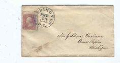 Civil War era envelope mailed to Mrs. Claude Buchanan, Grand Rapids Michigan - 1863