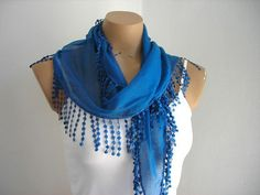 Blue Scarf  Woman Scarves Summer Scarf Cotton by fizzaccessory, $14.00