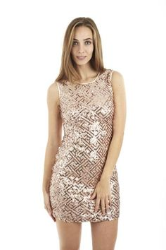 Optical Illusion Sequinned Party Dress. A must have for the party season; this little dress would look great for cocktails, clubbing or a work Christmas party. This sleeveless dress has a round neckline, straight cut and shorter length skirt. The dress is covered in sequins, featuring an on trend geometric design and has fabric piping around the neck and arms. Fully lined, zip plus hook and eye fastening on reverse.