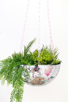 Make Your Own Disco Ball Hanging Planter – A Beautiful Mess - welp, i gotta have one of these.