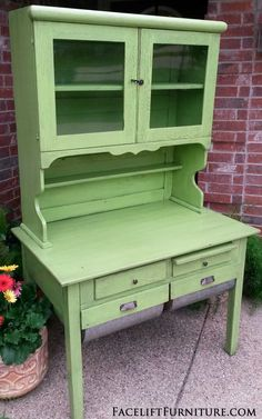 Hand made baker's rack in distressed Lime Green with Black Glaze. From Facelift Furniture's DIY Blog.