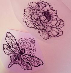 Gorgeous sketches...potential tattoos // floral, blossom, dragonfly, intricate work.