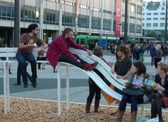 """Modified Social Benches"" are whimsical, wonderfully impractical benches by Danish artist Jeppe Hein."