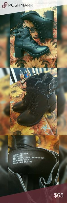 "Steve Madden ""Compton"" Black Leather Booties Size 9.5 M Worn Once Steve Madden Shoes Ankle Boots & Booties"