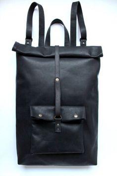 Black leather backpack by #nastyaklerovski