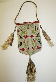 Antique embroidered French silk and tassels purse from the 1820-1830.