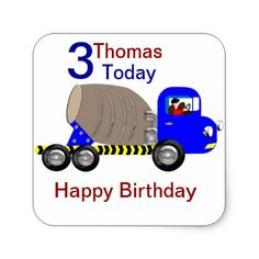 Cute Boys Cement Mixer Truck Birthday Stickers