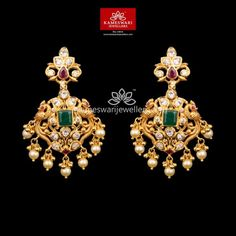 Mesmerizing collection of gold earrings from Kameswari Jewellers. Shop for designer gold earrings, traditional diamond earrings and bridal earrings collections online. Buy Earrings, Jewelry Design Earrings, Gold Earrings Designs, Ear Jewelry, Necklace Designs, Gold Jewelry, Jewelery, Jewellery Designs, Gold Gold