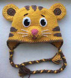 Daniel Tiger crochet hat DIY KIT only by Ambercraftstore on Etsy Crochet Animal Hats, Crochet Hats For Boys, Crochet Baby Hats, Crochet Beanie, Baby Knitting, Crocheted Hats, Crochet Girls, Bonnet Crochet, Crochet Cap
