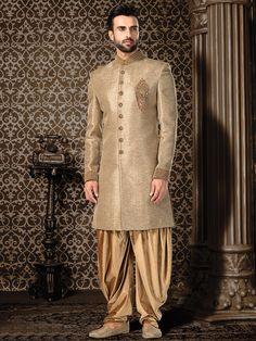 Shop Beige jute silk indo western online from India. Indian Groom Dress, Wedding Dresses Men Indian, Wedding Dress Men, Wedding Dress Patterns, Sherwani Groom, Mens Sherwani, Wedding Sherwani, Designer Suits For Men, Indian Designer Wear