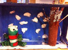 Blog van Floortje: winter kijkdoos voor kikker, gemaakt van een melkdoosje