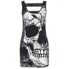 Women's Half Skull T Dress - Black
